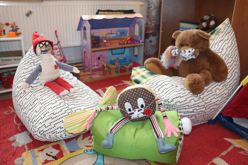 Nové sedací vaky v dětském oddělení knihovny